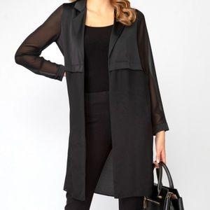 Black Collared Blazer Open Front Cardigan Sheer Sleeves  Sz 6/8